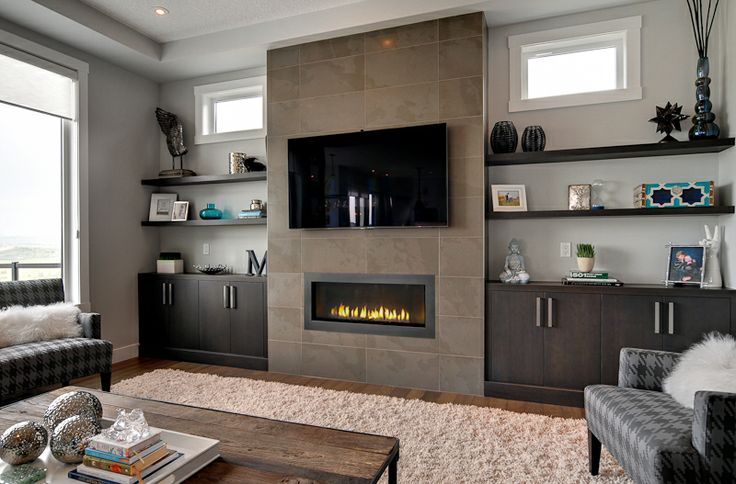 Built Ins Around Fireplace Basement Living Rooms