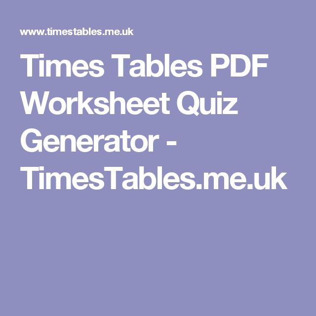 Fun First Grade Math Worksheets Word Best  Times Table Quiz Ideas On Pinterest  Shoe Game Wedding  Learning Worksheets For Kindergarten Pdf with Abc Writing Worksheet Times Tables Pdf Worksheet Quiz Generator  Timestablesmeuk Kindergarten Sorting Worksheets Excel