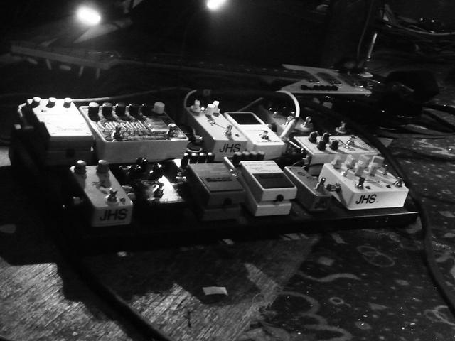 MUTEMATH guitarist Todd Gummerman's pedalboard  JHS Double Barrell, TC Electronic PolyTune, JHS Mini Tap Tempo, Boss DD-5, MXR Carbon Copy, JHS Banana Boost, JHS Mr. Magic, Electro Harmonix Cathedral, Ibanez DE-7