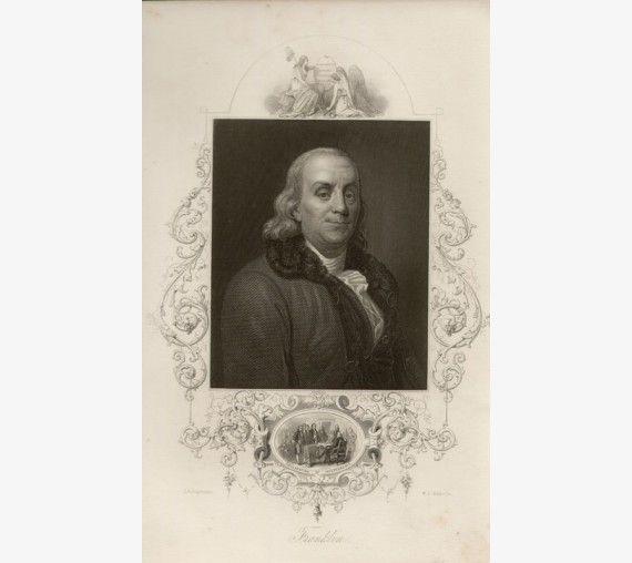 Franklin portrait engraving print Duplessis