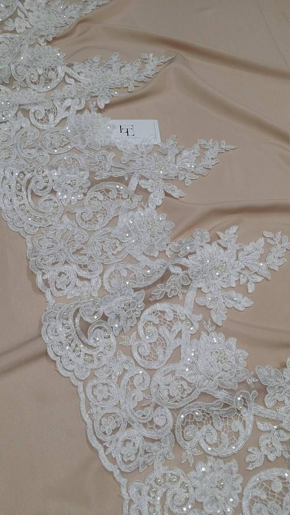 Beaded ivory lace trimming Sequin lace trimming Pearl lace