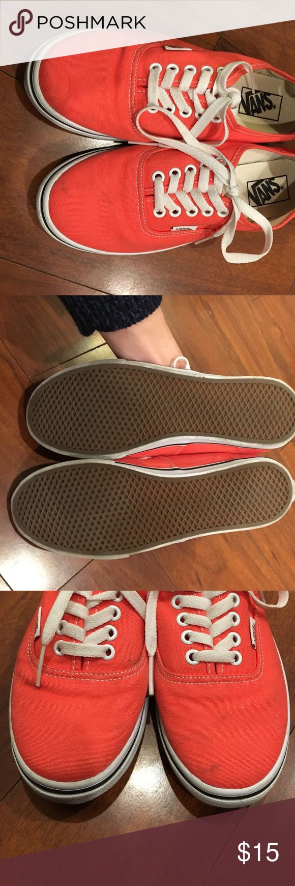 Lightly Worn Coral Vans! These Vans are in great condition!  They have a few small marks, as I wore them once to the park before realizing I needed a bigger size.  They've been sitting in my storage bin so they're a little bent out of shape (see picture) but nothing major. Vans Shoes Sneakers