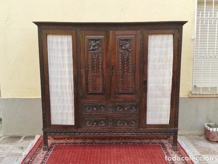Antigüedades: Librero antiguo estilo renacimiento rústico de despacho estantería antigua vitrina antigua rústica - Foto 2 - 72419883