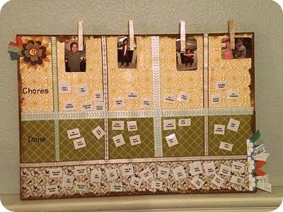 Love this magnetic board covered in scrapbook paper for chore board, prayer
