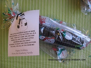 Snowman buttons and poem, mini oreos