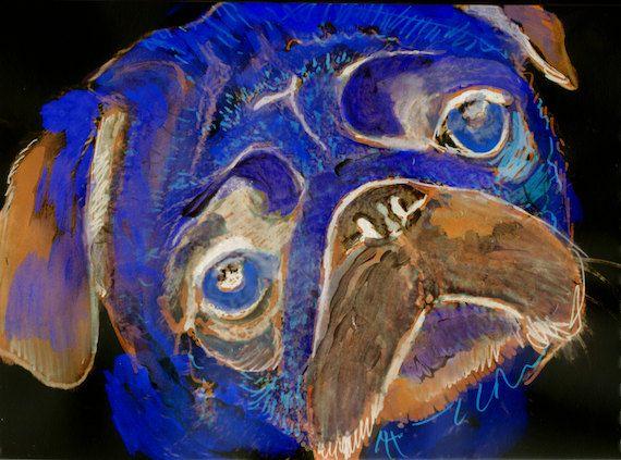 Colorful Pug Dog print, Funky Pug , colourful Pug dog art, Marine blue pug, sad pug, pug art print, wall art gift idea pug… #dogs #etsy #art