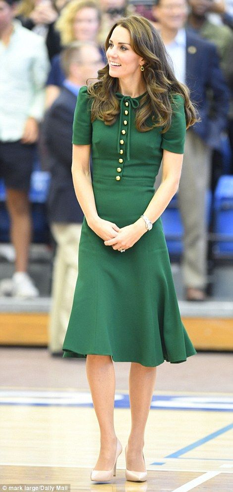Kate has been cinching in her waist and even displayed her slim arms on her Canada tour, left, but sticking to the royal expectations of not showing too much leg or cleavage
