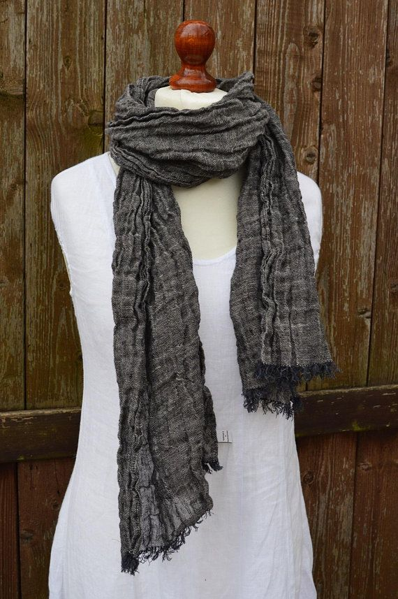 Handmade large grey blue linen scarf with patches for men and women