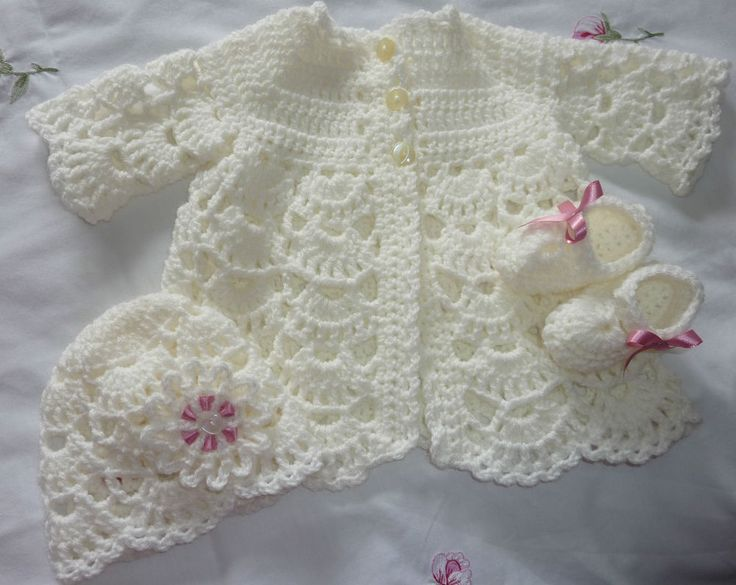 IVORY HAND MADE CROCHET MATINEE SET REBORN/BABY 0-3 MONTHS NEW #HANDCRAFTED