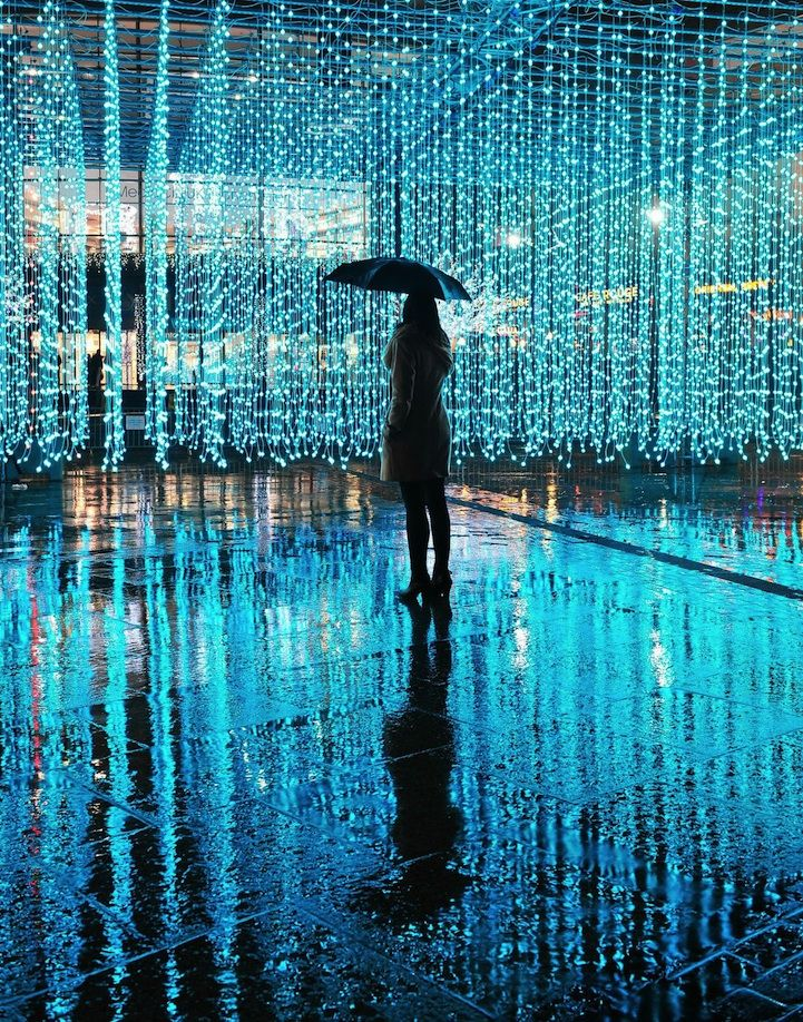 """Aeolian Light"" is made up of thousands of floating lights that change in color in response to the wind and human movement."
