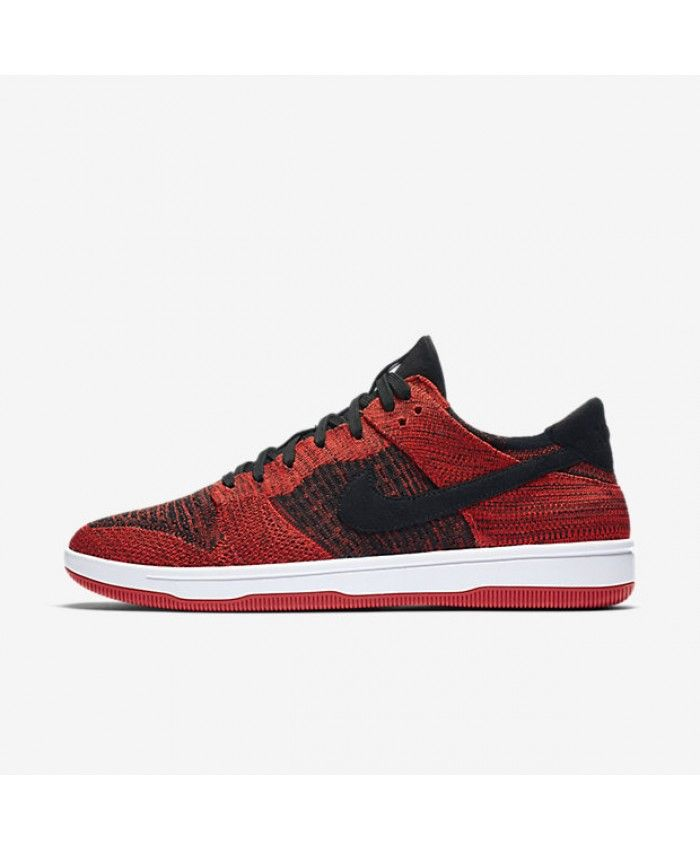 half off 2555f 9ebfd Nike Dunk Low Flyknit Black Chile Red White Black 917746-004