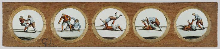 Vijf afbeeldingen van twee vechtende mannen, anonymous, c. 1700 - c. 1790