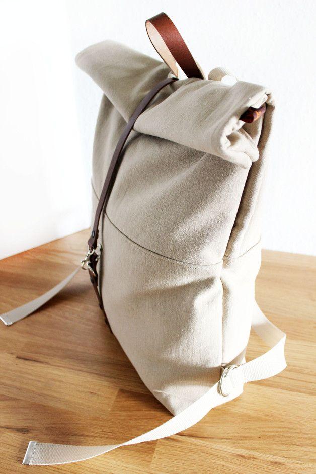 Rucksack, Turnbeutel, Beutel, Reisetasche, Canvas Tasche, Leinenrucksack, upcycling Rucksack, Modeaccessoire / backpack, fitness bag, rucksack, travel bag, canvas bag, linen bag, upcycling backpack, fashion accessory made by halfbird via DaWanda.com