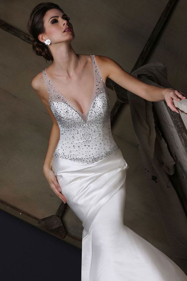 Victor Harper wedding gown style VH190, close up in satin #vneck #illusion #straps