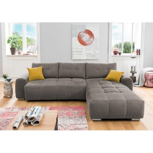 Ecksofa Londono Mit Bettfunktion Brayden Studio Polsterfarbe Grau Braun Dekokissenstoff Gelb Ausrichtung Links Ausgerich In 2020 Corner Sofa Couch Sectional Couch