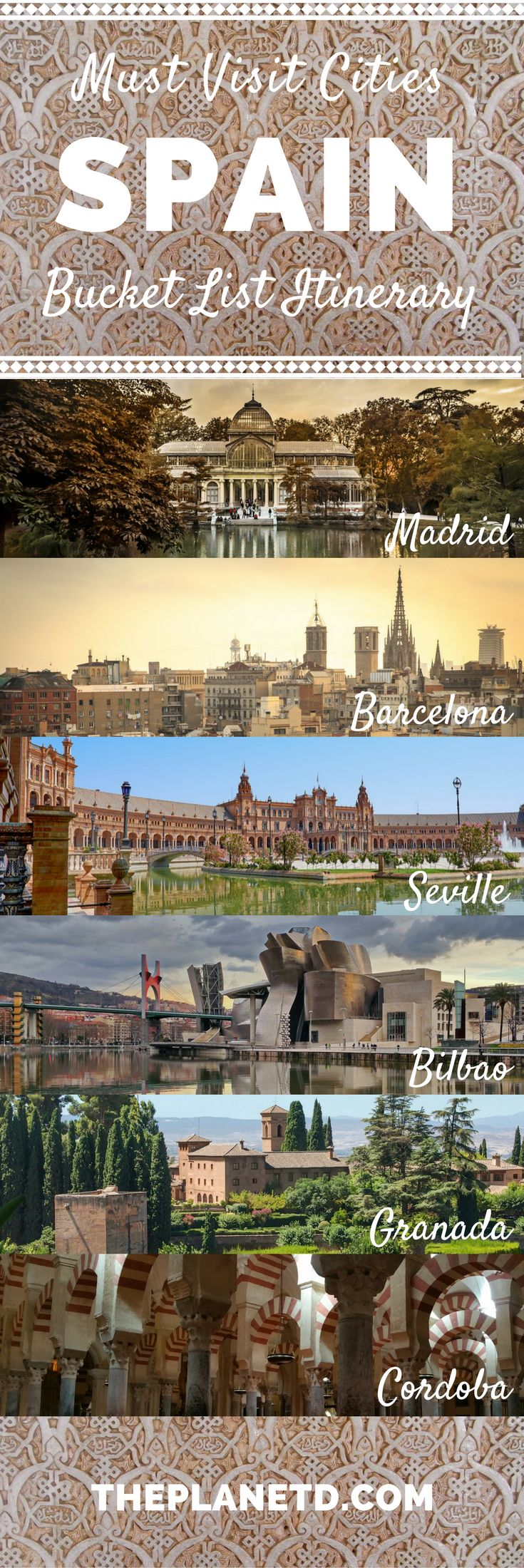 Places in Spain that you absolutely have to visit for their charm, culture and beauty. Bucket list cities for your trip to Spain including Madrid, Barcelona, Seville, Granada, Toledo and more. Best of travel in Europe.   Blog by The Planet D