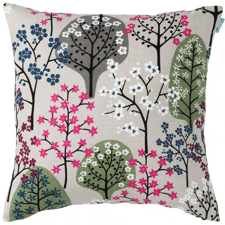 Spira Haga Green & Grey Cushion from Hus & Hem. The Haga print was designed by Bitte Stenström while walking on the Swedish island of Öland. Seeing the bare trees and dreaming of springtime she was inspired to design this lovely pattern. This wintery colourway features sage green and grey trees with a splash of fushia blossom to add a burst of colour.