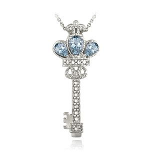 Glitzy Rocks Sterling Silver Blue Topaz Diamond Accent Key Necklace | Overstock.com Shopping - The Best Deals on Gemstone Necklaces