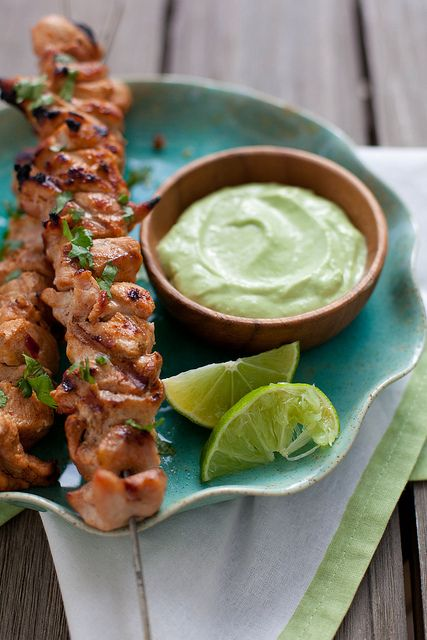 Chipotle Chicken Kabobs with Avocado Cream Sauce | Annie's Eats