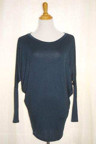 Teal Dolman Sleeve Top - with leggings and boots. So comfy!