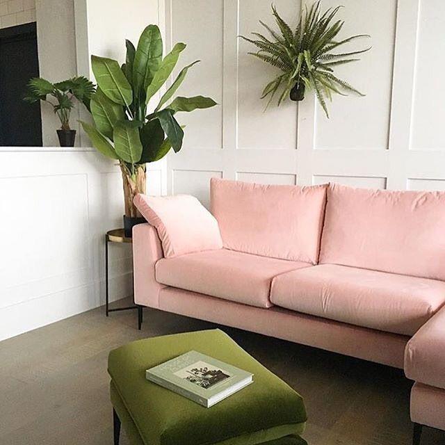 Blush Pink Sofa Vintage Green Velvet Footstool From Rose Grey Living Room Green Pink Living Room Pink Sofa Living