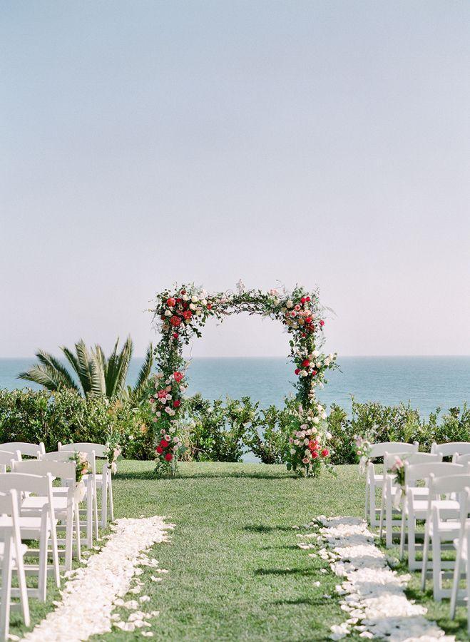 California Bel Air bay wedding ceremony: http://www.stylemepretty.com/2017/01/26/pink-black-tie-wedding/ Photography: Lacie Hansen - http://laciehansen.com/