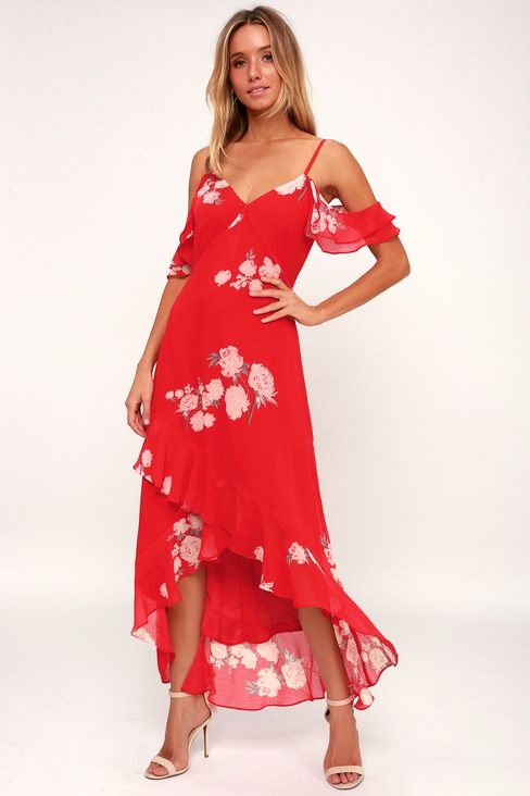 54f718bfcc6 Love in Bloom Red Floral Print Off-the-Shoulder High-Low Dress
