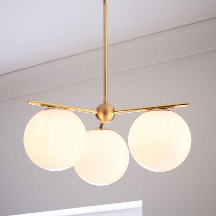 Sphere stem 3 light chandelier flushmount