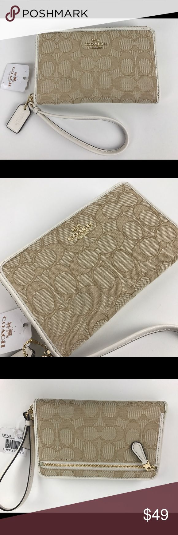 """Coach Signature Jacquard Zip Around Wristlet Authentic. New, with Tags. One tiny pinhead mark on exterior from handling.   Khaki Signature Jacquard with Leather trim, gold-tone hardware and leather interior. Zip closure, Leather wrist strap. 6.5""""L x 4""""H x 1""""D. Style 53972B. RB466.  Thank you for your interest!  PLEASE - NO TRADES / NO LOW BALL OFFERS / NO OFFERS IN COMMENTS - USE THE OFFER LINK :-) Coach Bags Wallets"""