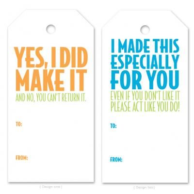 Funny Homemade Gift Tags