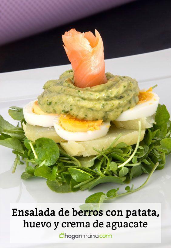 Receta de Ensalada de berros con patata, huevo y crema de aguacate