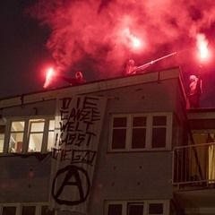FC St. Pauli fans demonstrate against the G20 summit in Hamburg, Germany