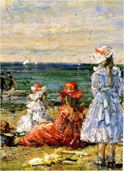 Συμεών Σαββίδης (Simeon Savvidis: Greek painter, 1859-1927), Κορίτσια στην παραλία (Girls on the beach). Ιδιωτική Συλλογή.