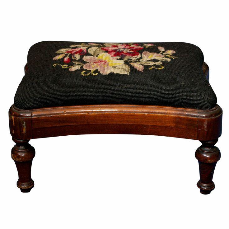 Victorian Style Needlepoint Hardwood Footstool. I love antique and vintage needlepoint and petit point