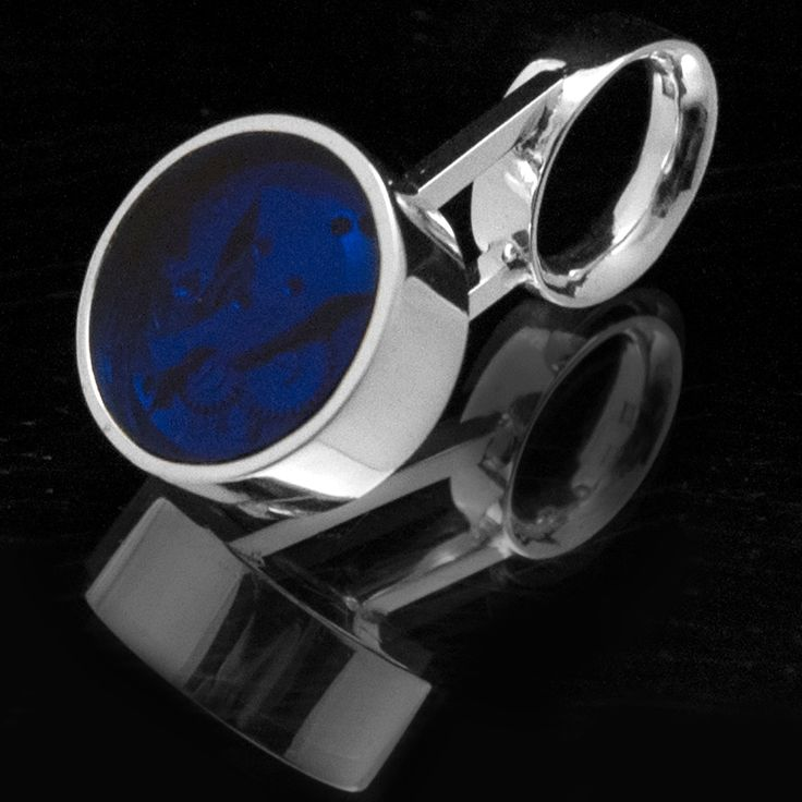 Coctail Time 3 (ring) 2012 Sterling Silver 30 gr, Blue Plexiglas