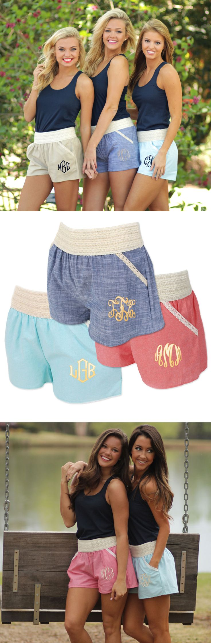 """""""Who wears short shorts?"""" Look fabulous in these adorable monogrammed crochet trim shorts! #marleylilly"""