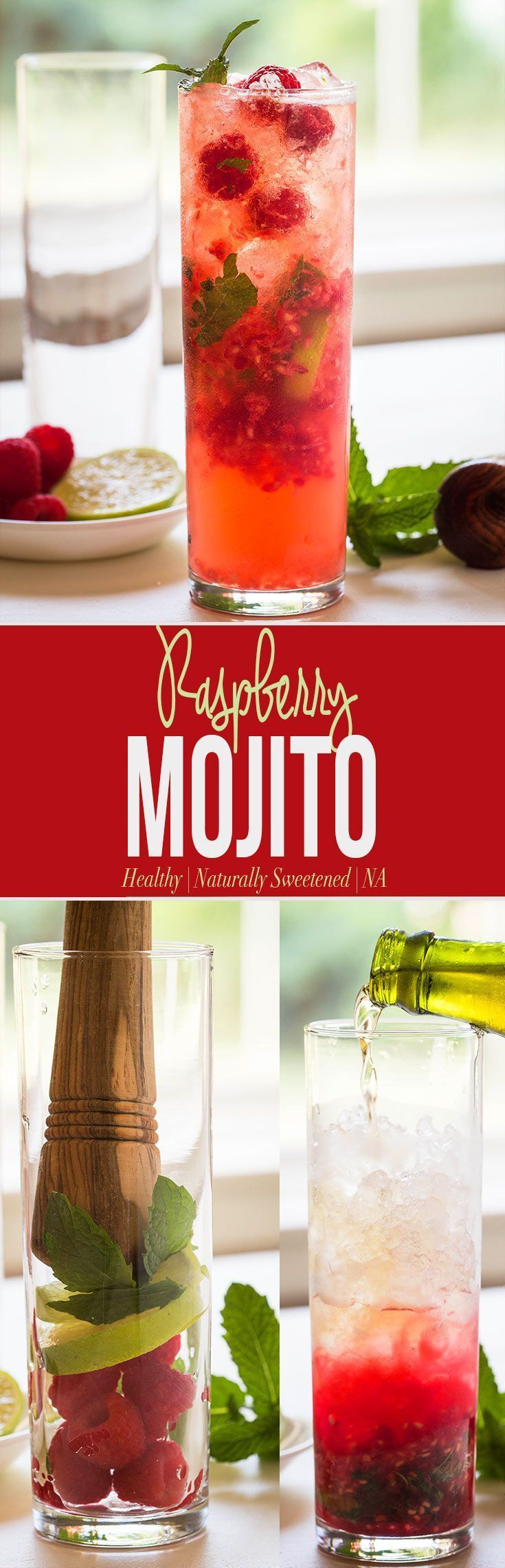 Healthy & Naturally Sweetened Raspberry Mojito