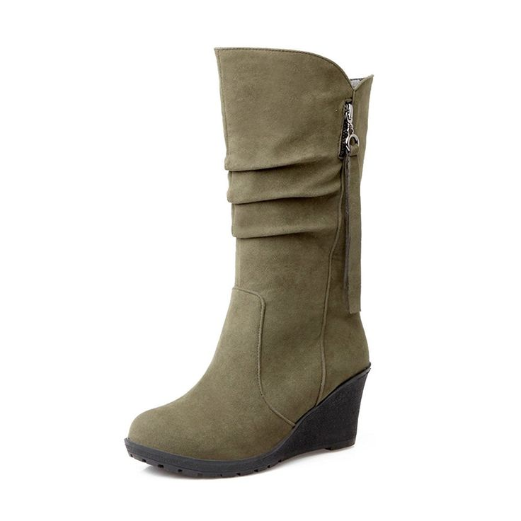 Women's Trendy Frosted Pleated Round Toe High Wedge Heel Slip On Boots