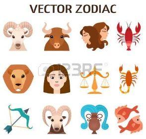 mytologie: Sada znamení zvěrokruhu, stylizované ikony znamení zvěrokruhu, horoskop symboly astrologie mytologie designové kolekce astronomie. Znamení zvěrokruhu barevné siluety horoskop astrologie set vektorové ilustrace.