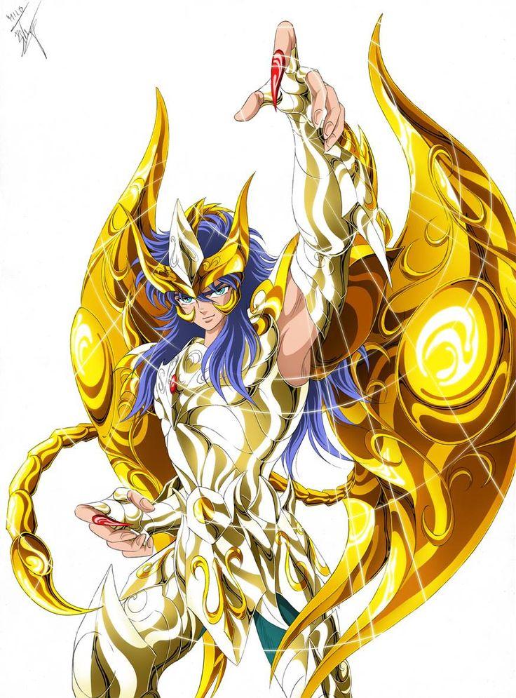 Gold Saint Scorpio Milo with Divine Cloth. Saint Seiya Soul of Gold. Artwork by Spaceweaver.