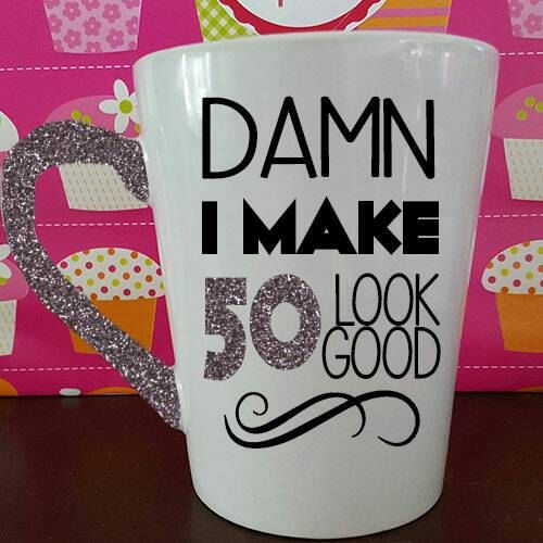 Check out this item in my Etsy shop https://www.etsy.com/listing/400114081/50th-birthday-mug-50th-birthday-glitter