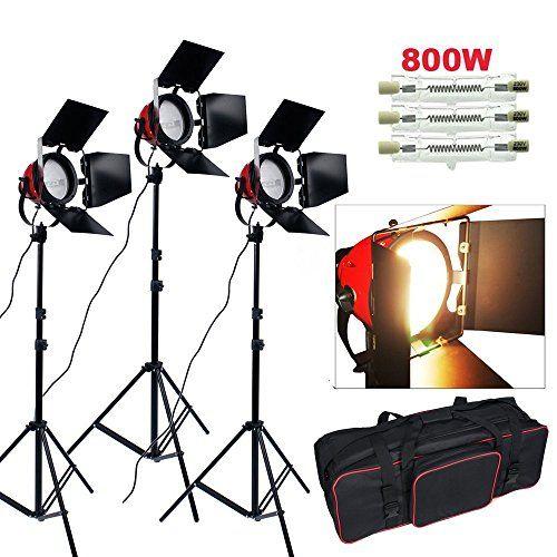 2400W 3200K Eclairage continu kit pour Studio/Vidéo photo à lumière douce–3*800W Ampoule halogène couleur d'éclairage jaune, 3*Projecteur…