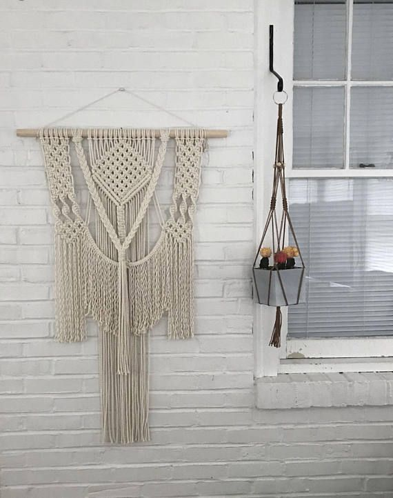 Large Modern Macrame Wall Hanging with fringe hobo chic wall