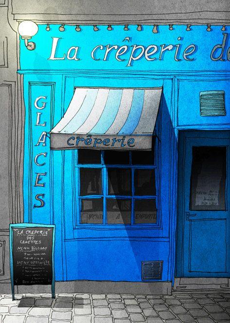 SALE Paris illustration Closing time Fine art por tubidu en Etsy