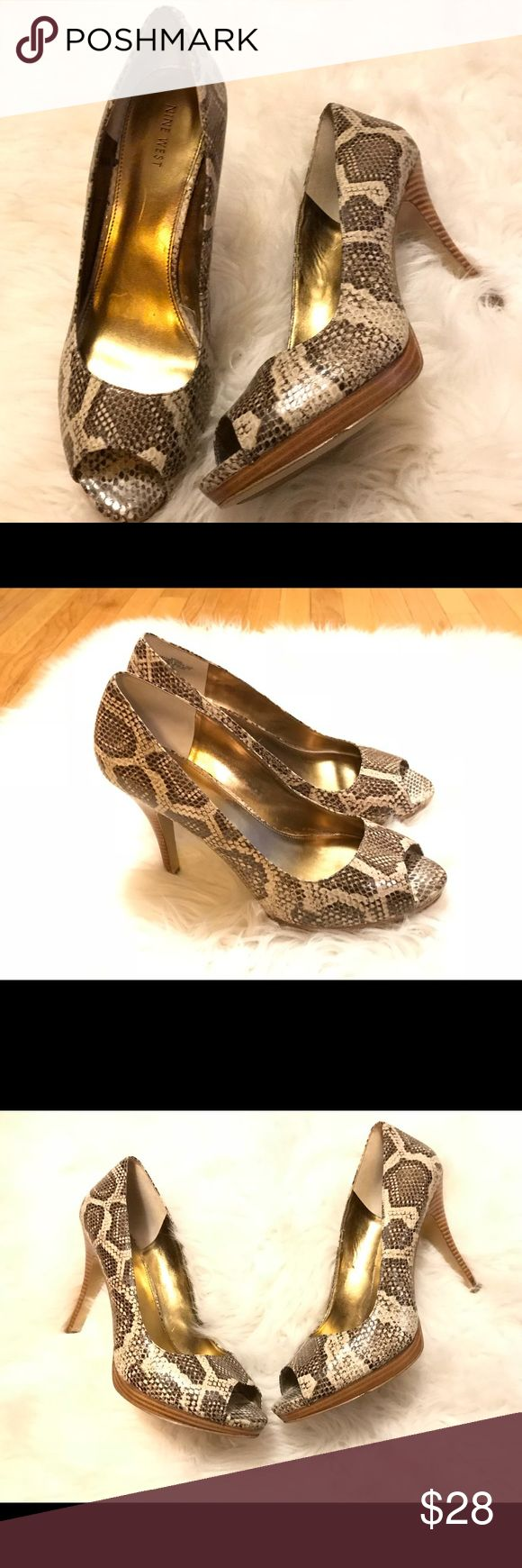 """Nine West Zulu Snakeskin Heels Size 12 EUC Nine West """"Zuki"""" Women's Animal Print Peep Toe Pumps Heels . Size 12. Preowned With Normal Wear ( NO FLAWS). Please let me know if you have any additional questions and I will get back to you ASAP. Follow my store new items are added daily. Nine West Shoes Heels"""