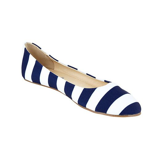 Cheer on your favorite team in dark blue and white striped ballet flats by Lillybee U - gameday colors with everyday style