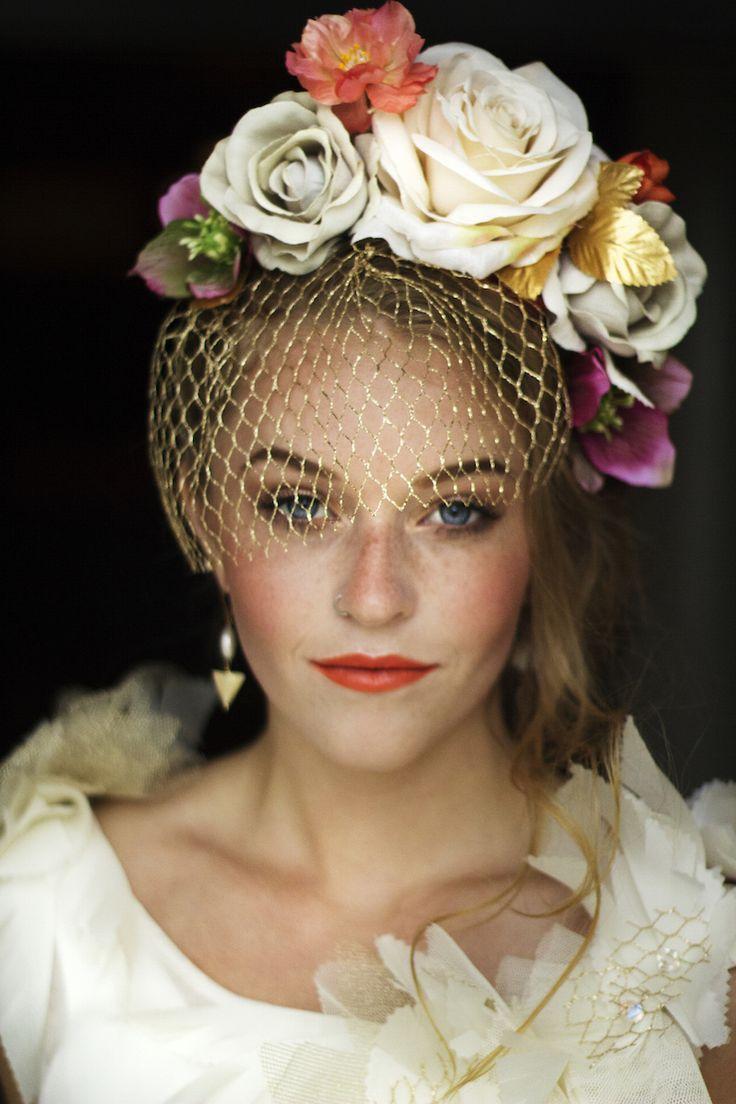 Handmade Silk flower crown. Katie Burley Millinery and Dark + Diamond Floral Design. Dress by Juda Leah