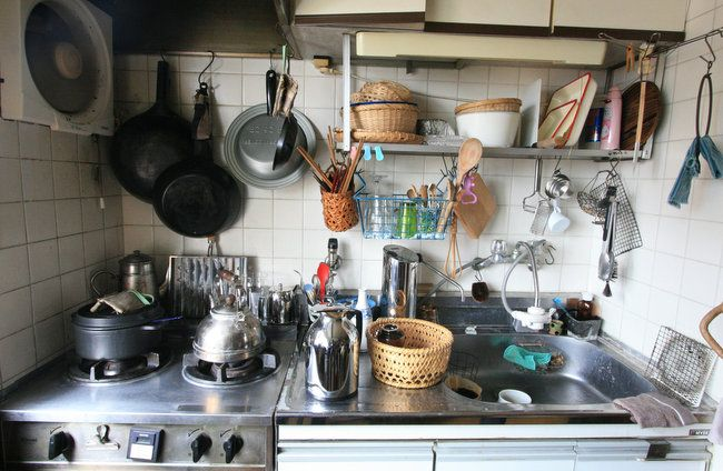 Well-used working kitchen in Tokyo