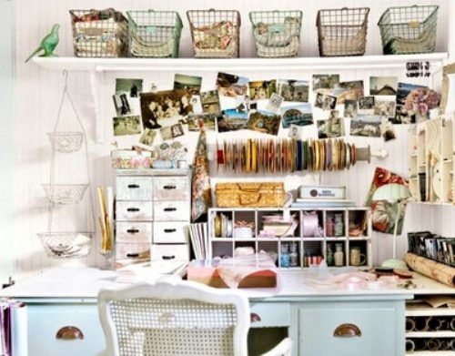 desk.: Crafts Desks, Crafts Rooms, Shabby Chic, Crafts Spaces, Work Spaces, Workspaces, Wire Baskets, Home Offices, The Wire