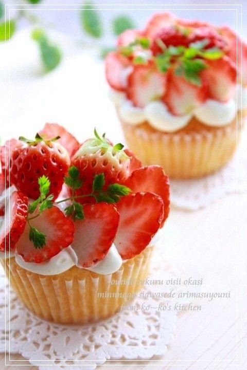 ✿私の可愛いふんわりカップケーキ✿ by ko~ko [クックパッド] 簡単おいしいみんなのレシピが252万品